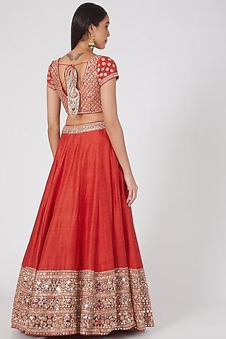 Red Embellished Lehenga Set by Abhinav Mishra