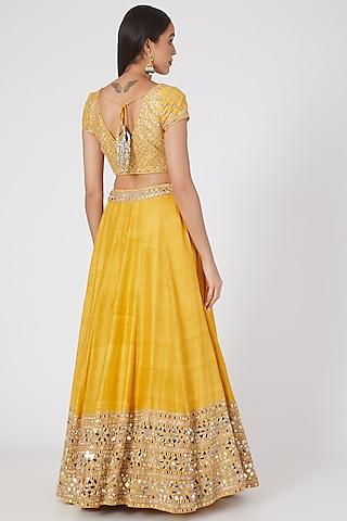 Yellow Lehenga Set With Embellishments. by Abhinav Mishra