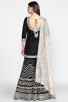 Black Embroidered Sharara Set by Abhinav Mishra
