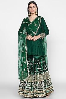 Emerald Green Embroidered Sharara Set by Abhinav Mishra