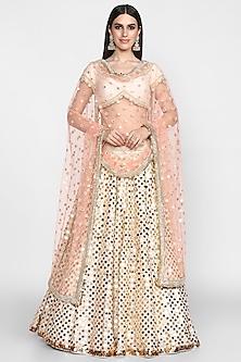 Ivory & Peach Embroidered Lehenga Set by Abhinav Mishra