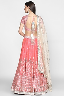 Pink Mirrors Embroidered Lehenga Set by Abhinav Mishra