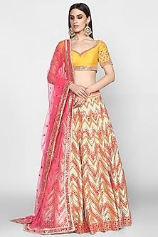 Multi Colored Embroidered Lehenga Set by Abhinav Mishra
