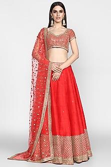 Red Mirrors Embroidered Lehenga Set by Abhinav Mishra