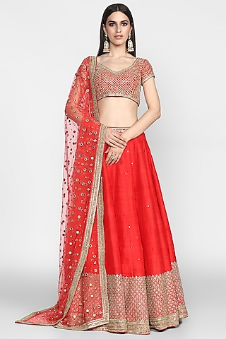 Red Mirrors Embroidered Lehenga Set by Abhinav Mishra