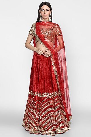 Maroon Embroidered Lehenga Set by Abhinav Mishra