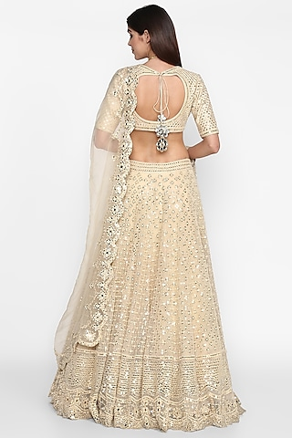 Beige Embroidered Lehenga Set by Abhinav Mishra