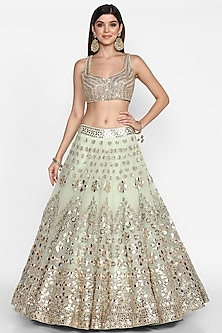 Mint Green Mirrors Embroidered Lehenga Set by Abhinav Mishra