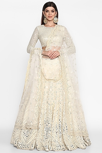 Ivory Embroidered Lehenga Set by Abhinav Mishra