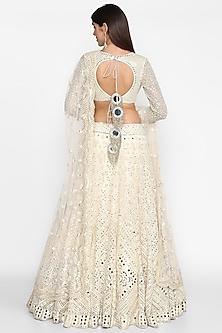 Ivory Embroidered Lehenga Set by Abhinav Mishra