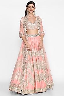 Pastel Pink Embroidered Lehenga Set by Abhinav Mishra