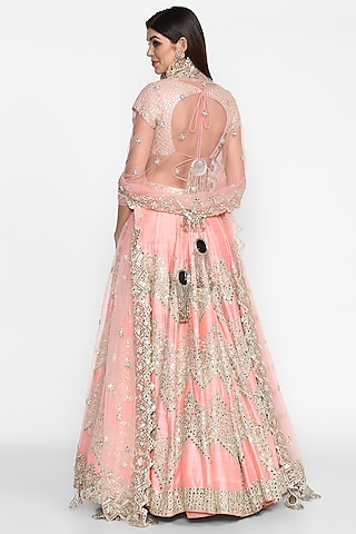 Pastel Pink Embroidered Lehenga Set by Abhinav Mishra