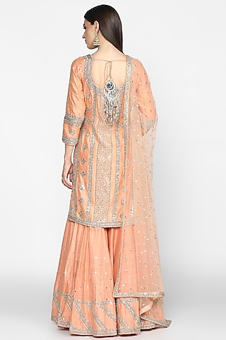 Peach Embroidered Sharara Set by Abhinav Mishra