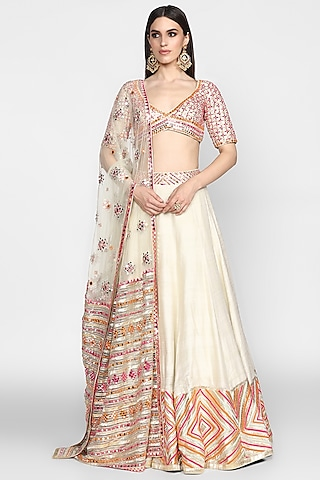 Orange & Ivory Embroidered Lehenga Set by Abhinav Mishra