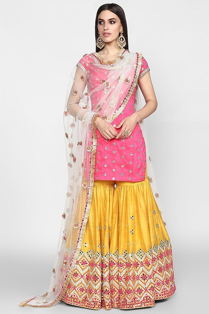 Fuchsia & Yellow Embroidered Sharara Set by Abhinav Mishra
