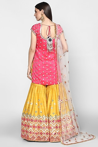 Fuchsia & Yellow Embroidered Sharara Set by Abhinav Mishra