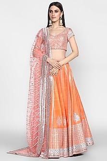 Orange Mirrors Embroidered Lehenga Set by Abhinav Mishra-Shop By Style