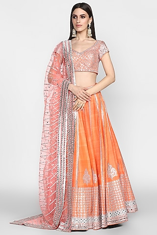Orange Mirrors Embroidered Lehenga Set by Abhinav Mishra
