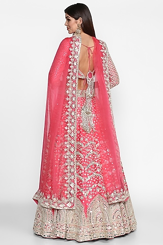 Rani Pink Embroidered Lehenga Set by Abhinav Mishra
