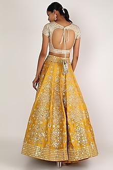 Yellow & Ivory Embroidered Lehenga Set by Abhinav Mishra