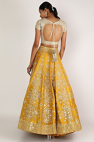 Yellow & Ivory Embroidered Lehenga Set by Abhinav Mishra