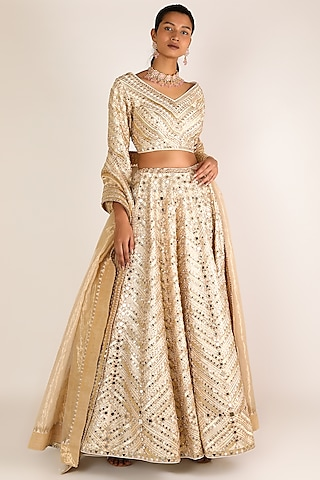 Golden Embroidered Lehenga Set by Abhinav Mishra