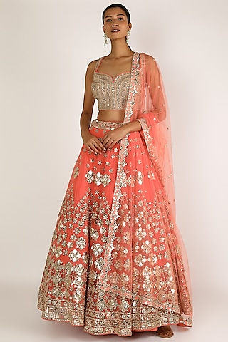 Pink Embroidered Lehenga Set by Abhinav Mishra