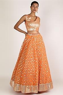 Orange Embroidered Lehenga Set by Abhinav Mishra