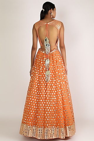 Orange Embroidered Lehenga Set by Abhinav Mishra