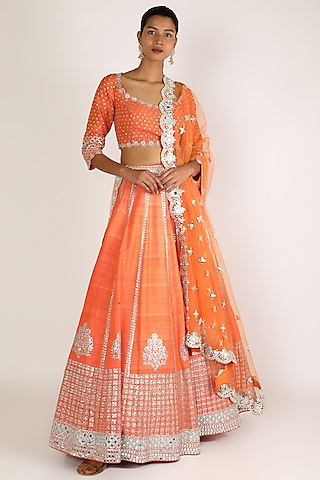 Orange Mirror Embroidered Lehenga Set by Abhinav Mishra