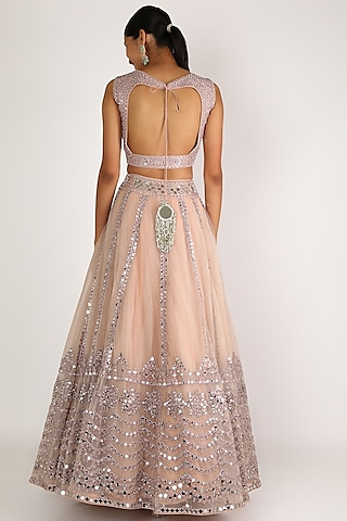 Light Lilac Embroidered Lehenga Set by Abhinav Mishra