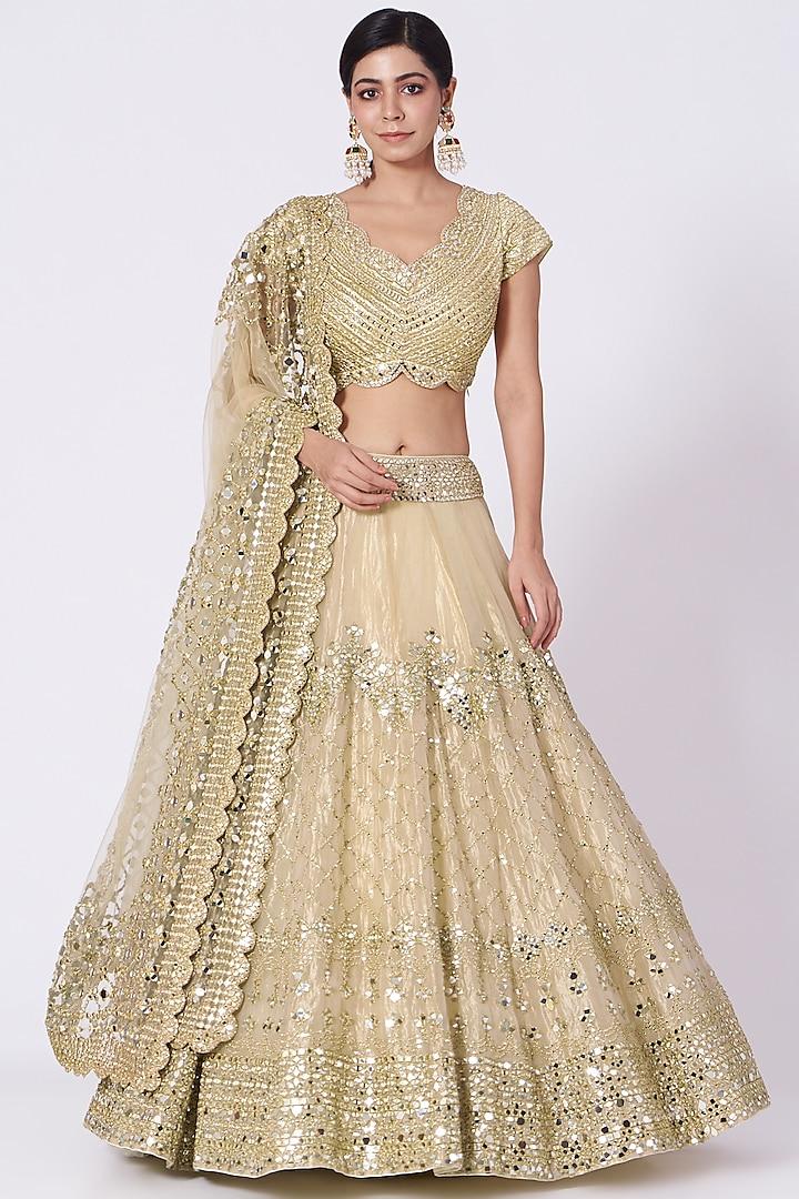 Gold Embellished Lehenga Set by Abhinav Mishra