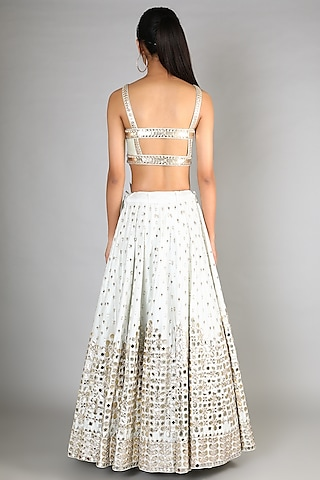 White & Mint Embroidered Lehenga Set by Abhinav Mishra