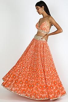 Coral Orange Tie-Dye Skirt Set by Abhinav Mishra