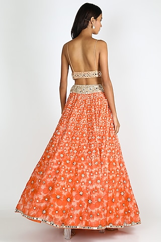 Coral Orange Tie-Dye Skirt Set by Abhinav Mishra