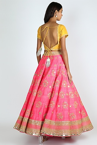 Pink & Yellow Embroidered Lehenga Set by Abhinav Mishra