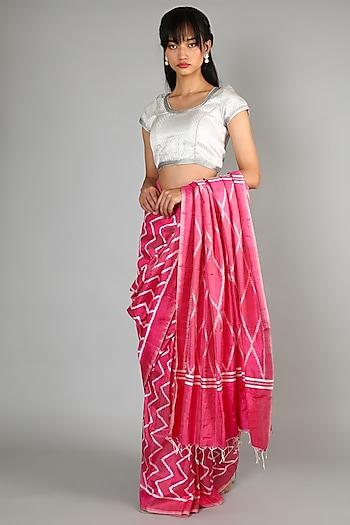 Blush Pink Single Weft Mulberry Silk Saree Set by Abir Pal