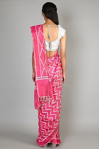 Blush Pink Single Weft Mulberry Silk Saree Set by Abir Pal