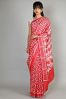 Red Single Weft Ikat Mulberry Silk Saree Set by Abir Pal-Shop By Style