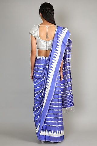 Cobalt Blue Single Weft Ikat Mulberry Silk Saree Set by Abir Pal