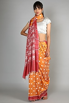 Mustard Single Weft Ikat Mulberry Silk Saree Set by Abir Pal-Shop By Style