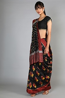 Black Mulberry Silk Single Weft Ikat Saree Set by Abir Pal-Shop By Style