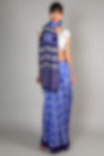 Cobalt Blue Single Weft Mulberry Silk Saree Set by Abir Pal