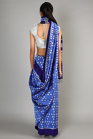 Cobalt Blue Single Weft Mulberry Silk Saree Set by Abir Pal