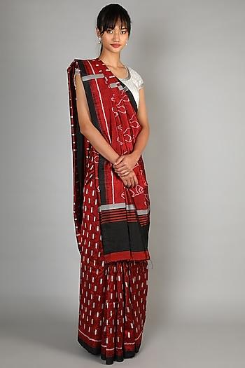 Red Mulberry Silk Single Weft Ikat Saree Set by Abir Pal