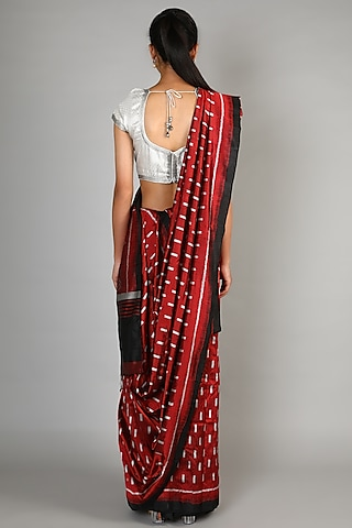 Red Mulberry Silk Single Weft Ikat Saree Set by Abir Pal