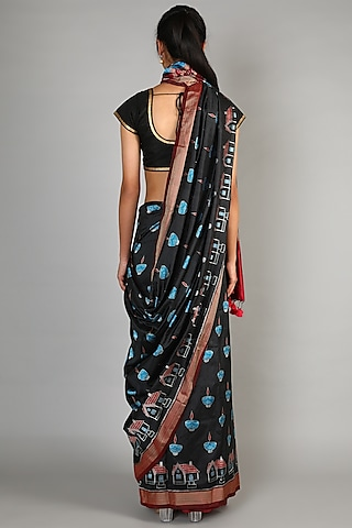 Black Single Weft Ikat Saree Set by Abir Pal