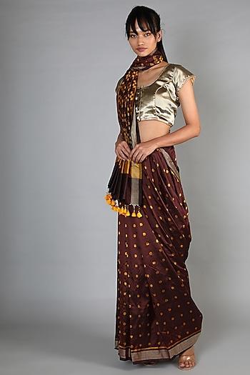 Maroon Single Weft Ikat Mulberry Silk Saree Set by Abir Pal