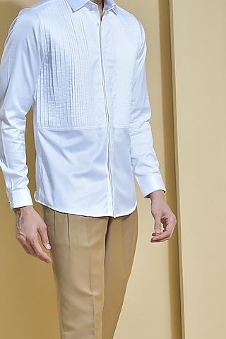 White Pleated Shirt by Abkasa