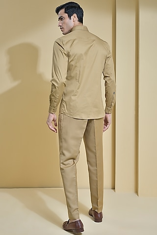 Khaki Brown Cotton Shirt by Abkasa